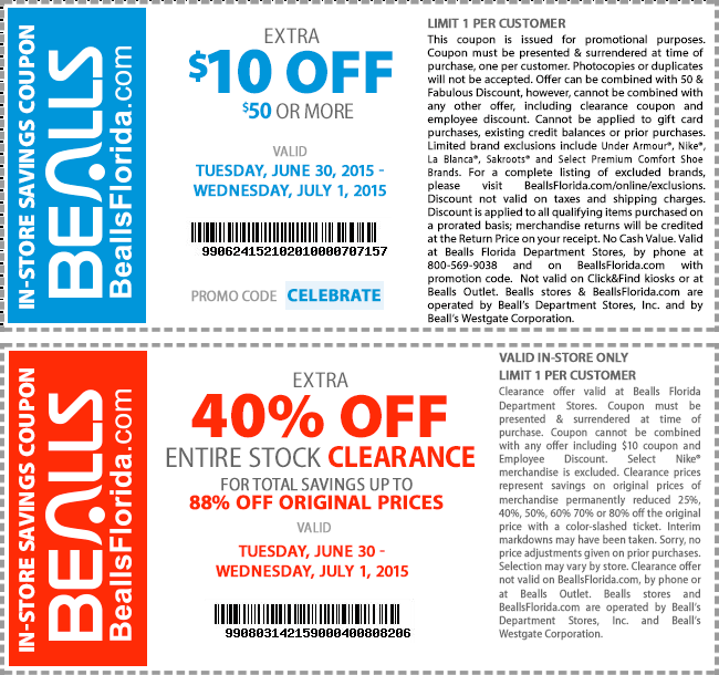 Bealls Coupon July 2017 $10 off $50 & extra 40% off clearance at Bealls, or online via promo code CELEBRATE