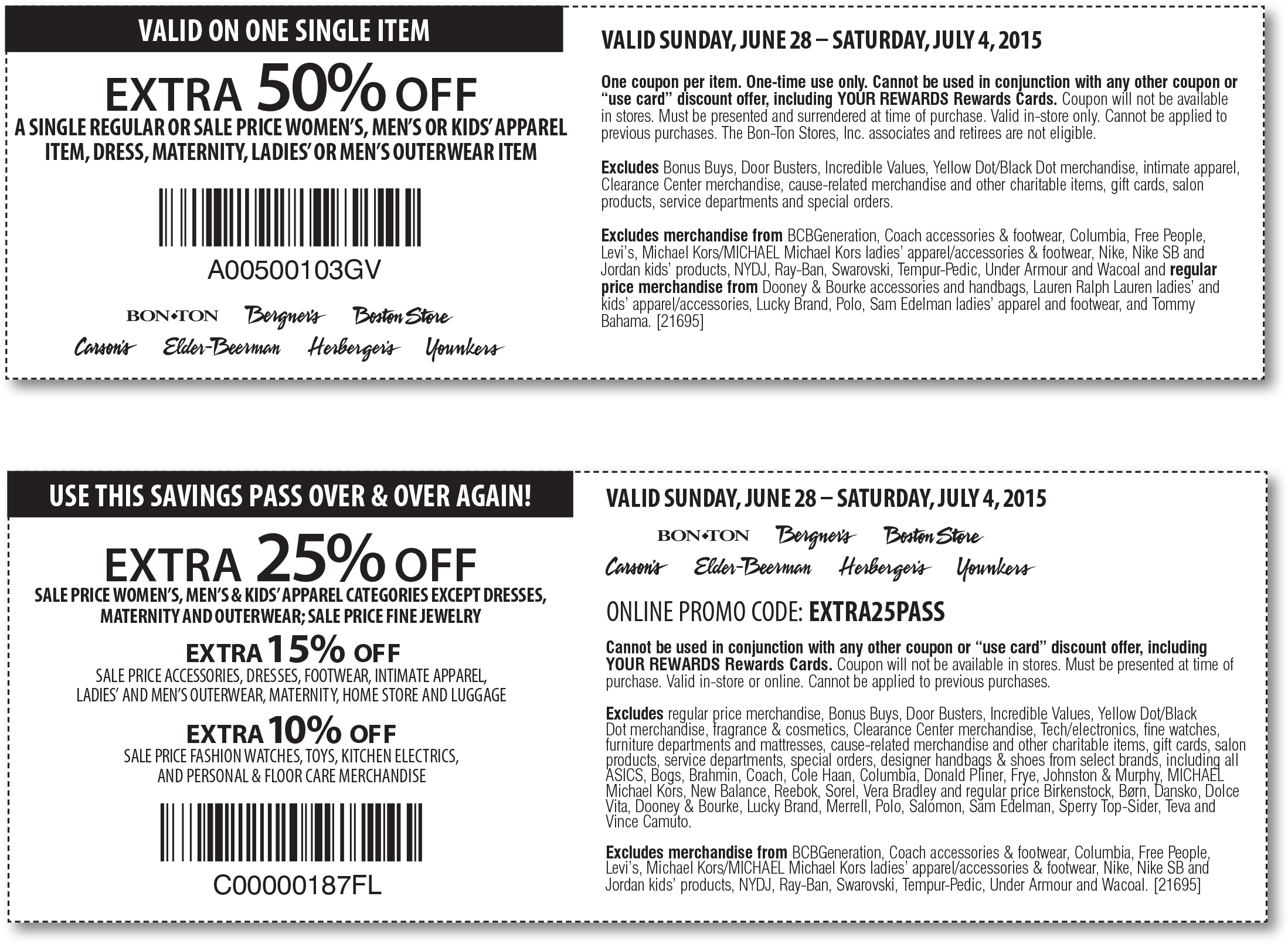 Carsons Coupon July 2017 Extra 50% off a single item & more at Carsons, Bon Ton & sister stores, or online via promo code EXTRA25PASS
