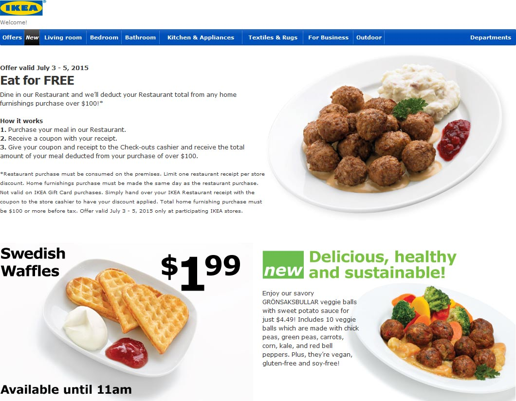 IKEA Coupon February 2017 Dine free on $100 spent this weekend at IKEA furniture stores