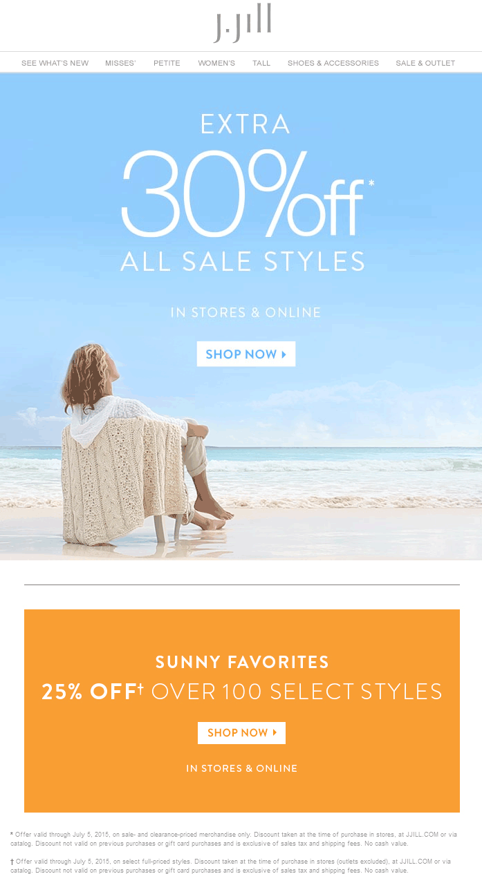 J.Jill Coupon February 2019 Extra 30% off sale items at J.Jill, ditto online