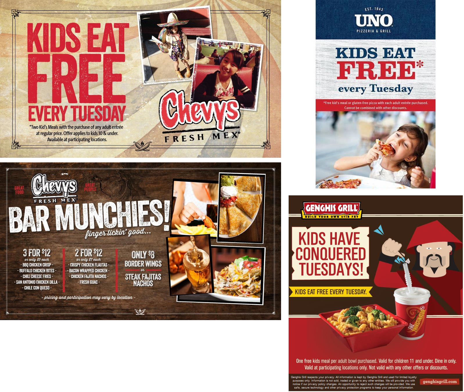 Chevys Fresh Mex Coupon August 2017 Kids eat free today at Chevys Fresh Mex, Genghis Grill & Uno Pizzeria Grill