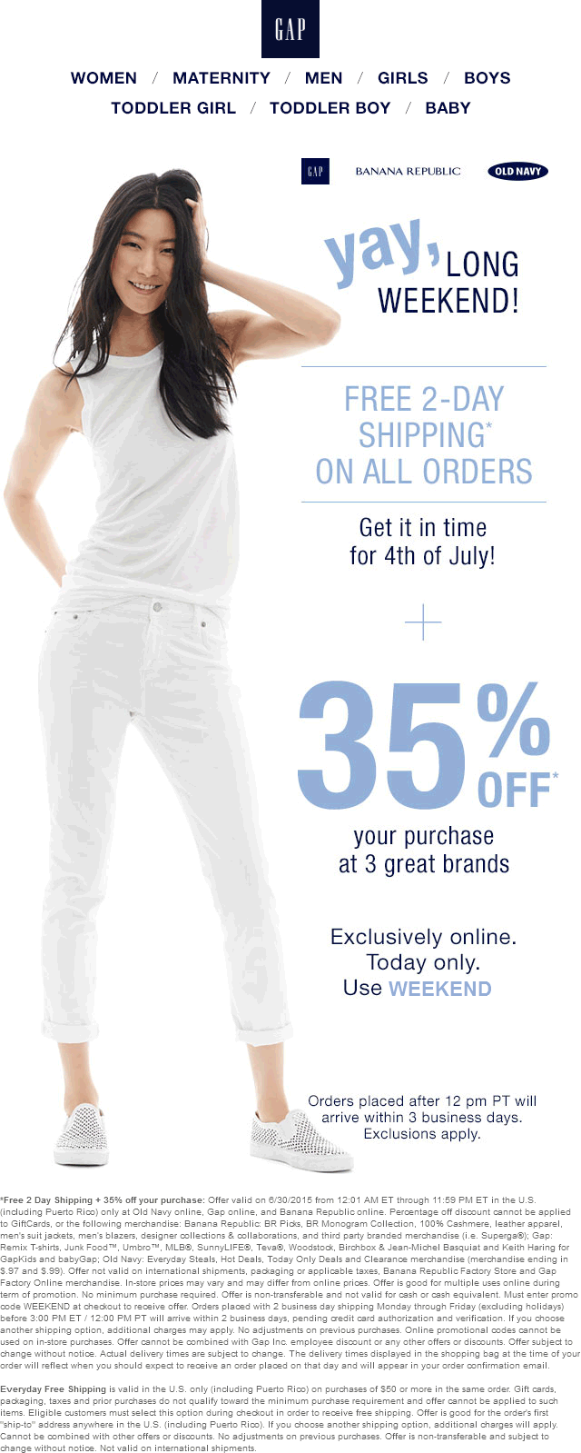 Old Navy Coupon July 2018 35% off + free priority shipping online today at Old Navy, Gap & Banana Republic via promo code WEEKEND