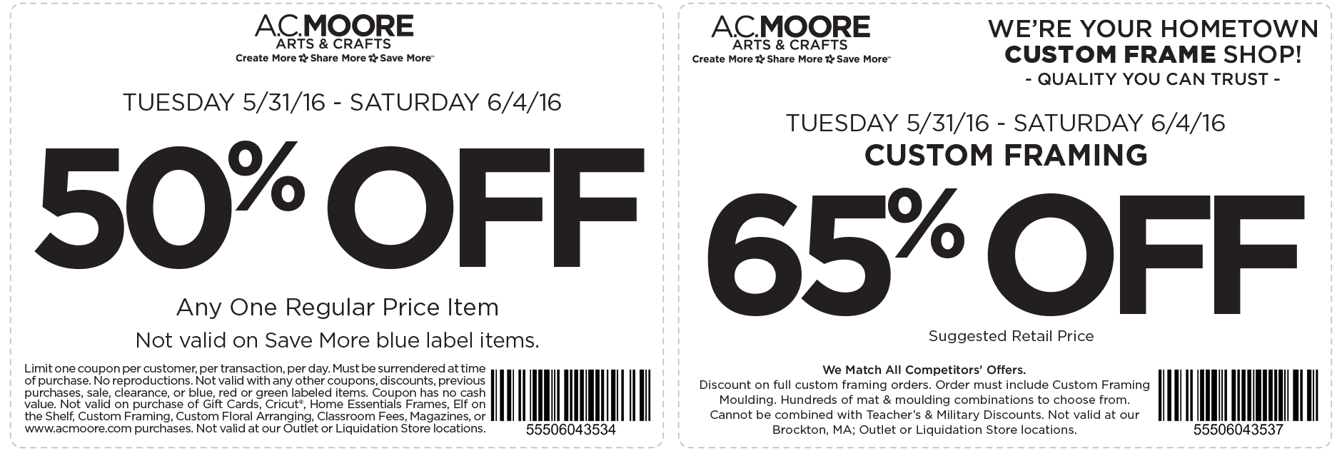 A.C. Moore Coupon February 2018 50% off a single item at A.C. Moore