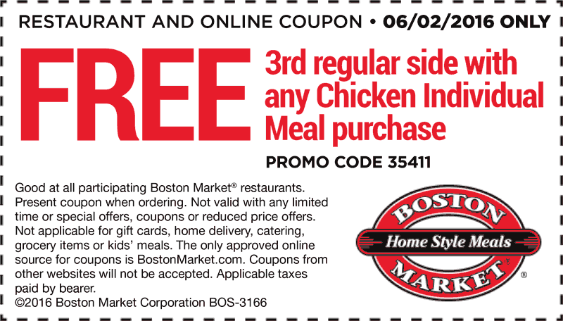 Boston Market Coupon June 2017 3rd side free with your meal Thursday at Boston Market