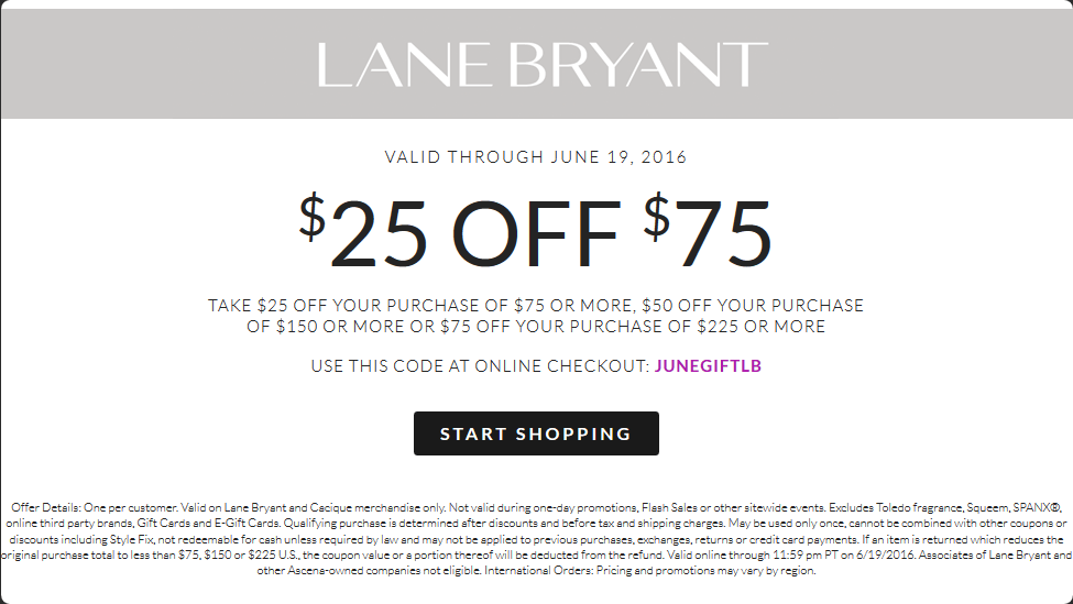 Lane Bryant Coupon February 2017 $25 off $75 at Lane Bryant, or online via promo code JUNEGIFTLB