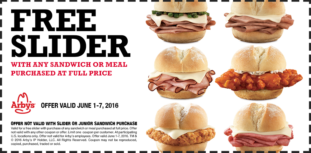 Arbys Coupon January 2017 Free slider with any sandwich at Arbys