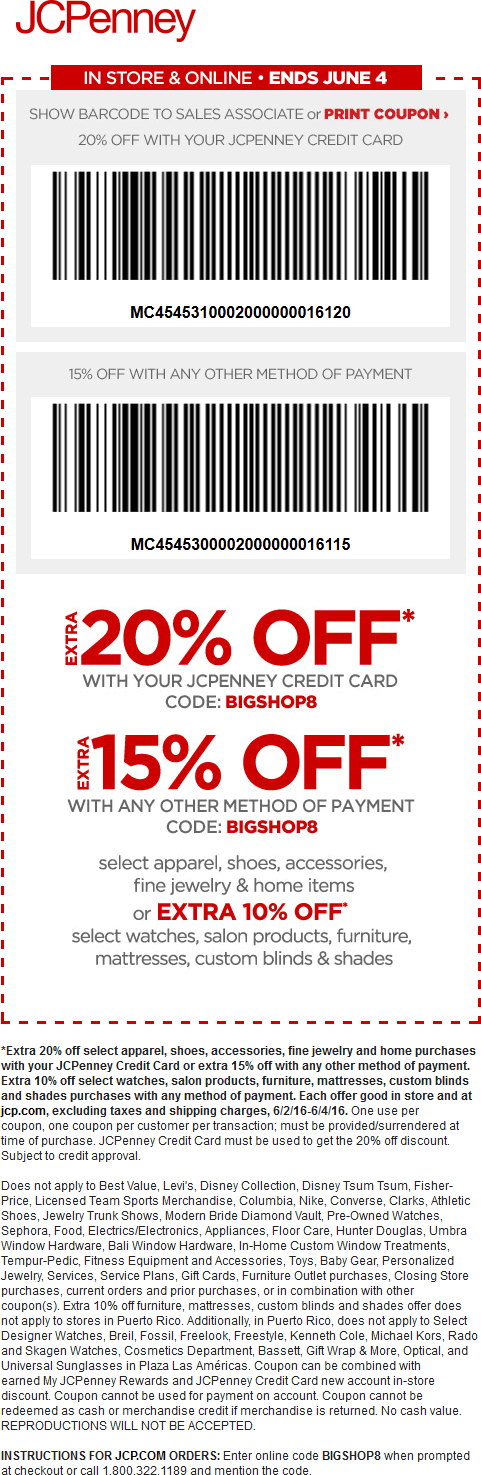 JCPenney Coupon May 2018 15% off at JCPenney, or online via promo code BIGSHOP8