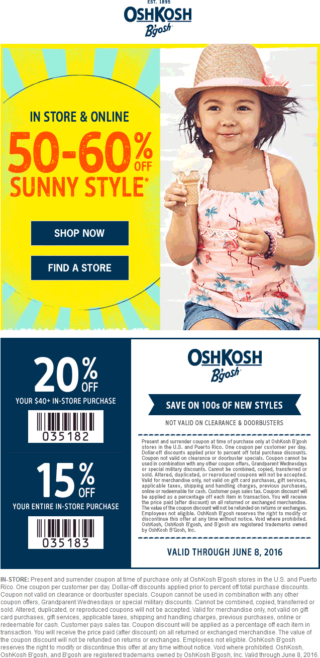 OshKosh Bgosh Coupon April 2017 50-80% off at OshKosh Bgosh, ditto online