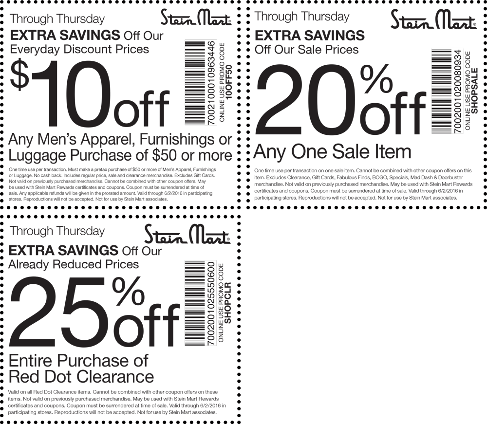 Stein Mart Coupon October 2017 Extra 20% off a sale item & more today at Stein Mart, or online via promo code SHOPSALE