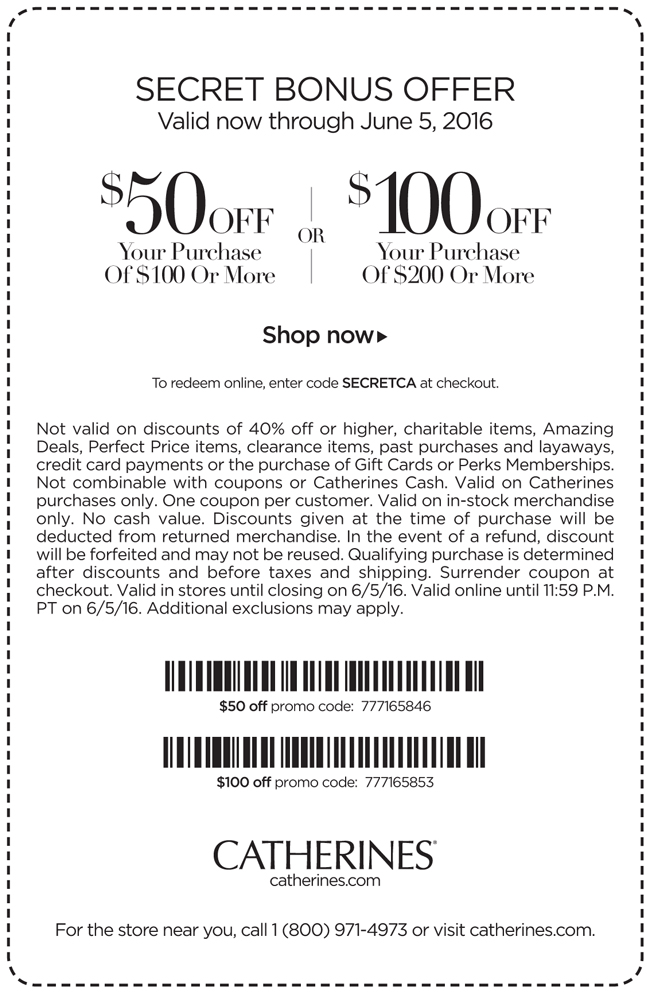 Catherines Coupon January 2018 $50 off $100 & more at Catherines, or online via promo code 777165846