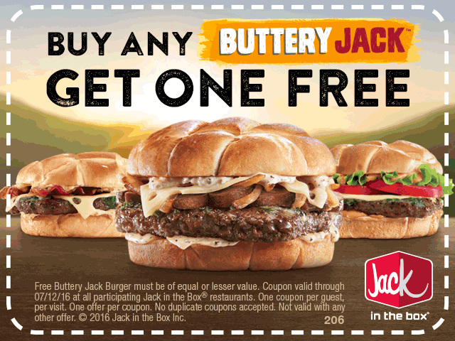 Jack in the Box Coupon April 2018 Second burger free at Jack in the Box