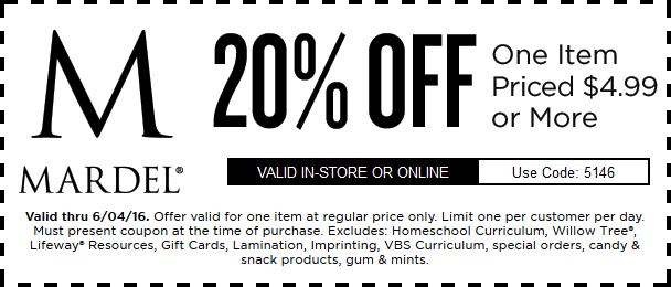 Mardel.com Promo Coupon 20% off a single item at Mardel, or online via promo code 5146