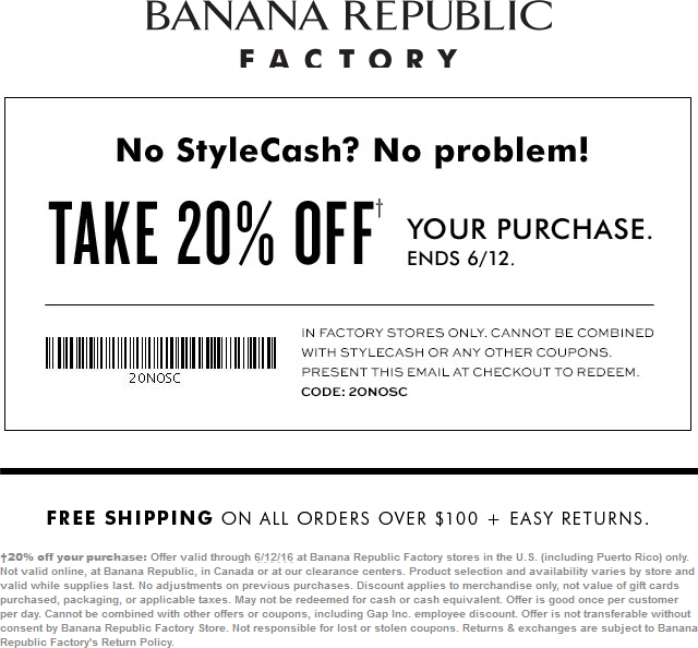 Banana Republic Factory Coupon May 2018 Extra 20% off at Banana Republic Factory