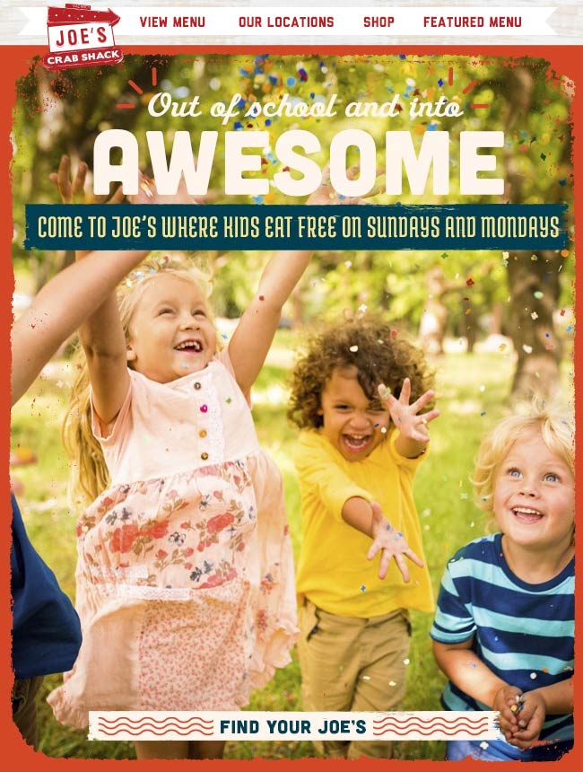 Joes Crab Shack Coupon March 2018 Kids eat free Sundays & Mondays at Joes Crab Shack