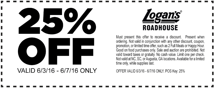 Logans Roadhouse Coupon August 2017 25% off at Logans Roadhouse restaurants