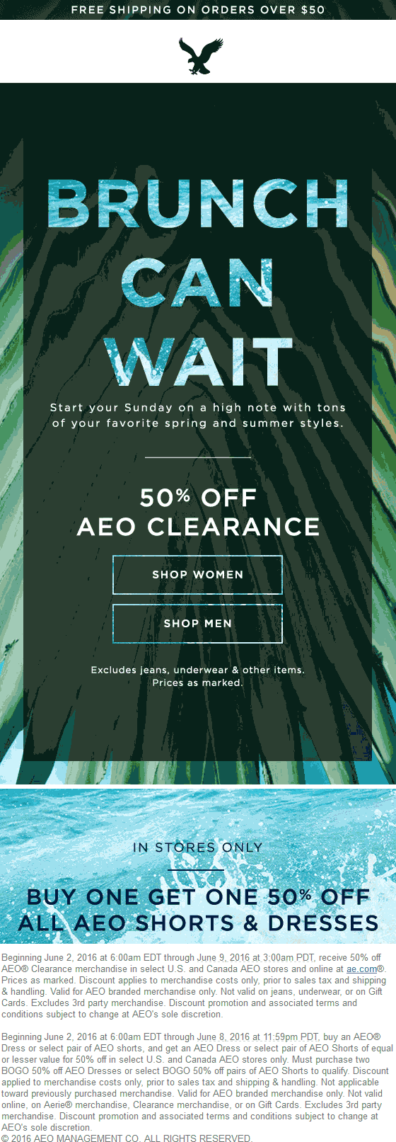 American Eagle Outfitters Coupon June 2017 Extra 50% off clearance at American Eagle Outfitters, ditto online