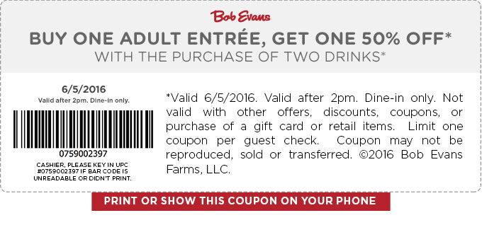 Bob Evans Coupon October 2016 Second entree 50% off today at Bob Evans