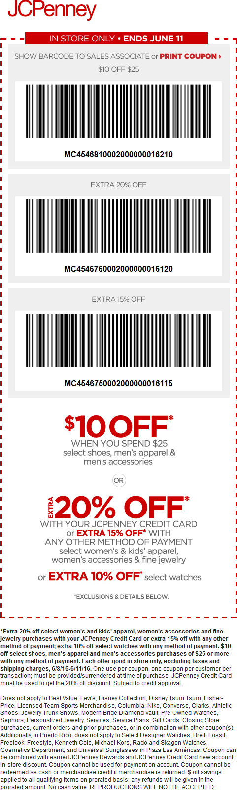 JCPenney Coupon December 2016 $10 off $25 on mens at JCPenney