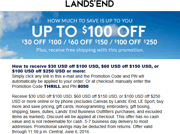 LandsEnd.com Promo Coupon $30 off $100 & more online at Lands End via promo code THRILL and pin 8050