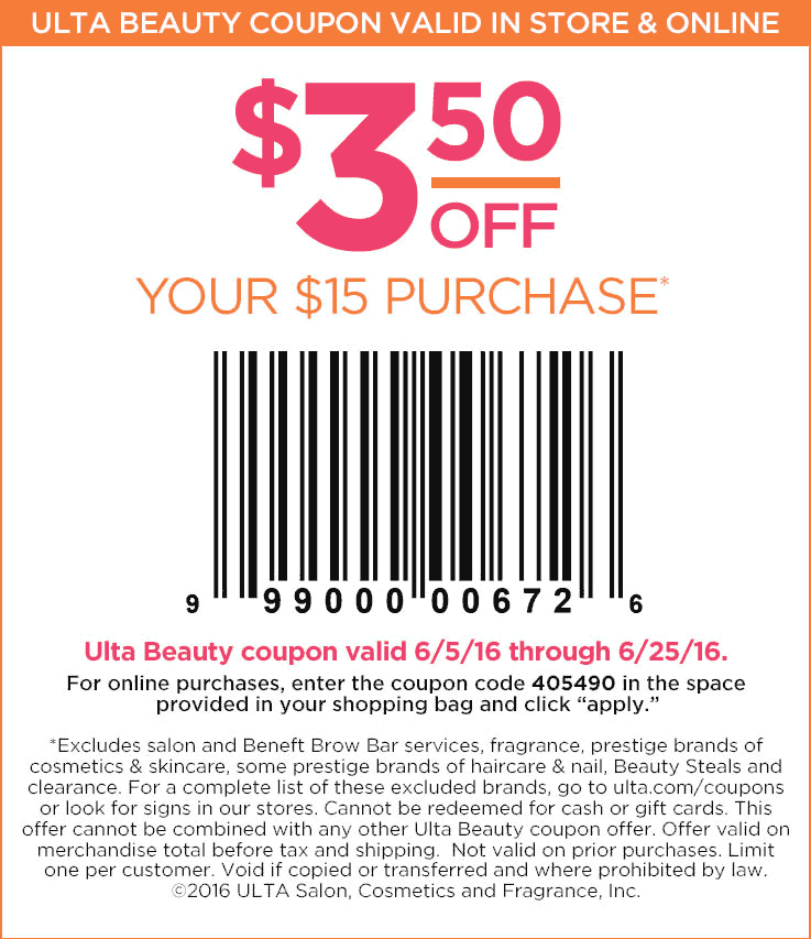Ulta Beauty Coupon May 2018 $3.50 off $15 at Ulta Beauty, or online via promo code 405490