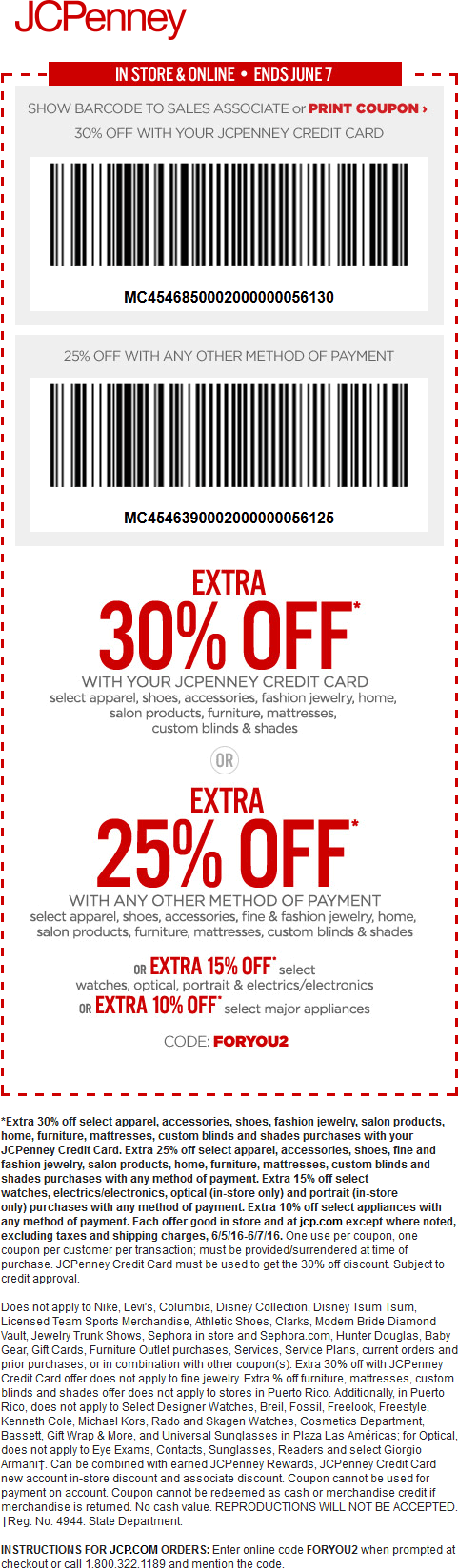JCPenney Coupon May 2017 Extra 25% off at JCPenney, or online via promo code FORYOU2