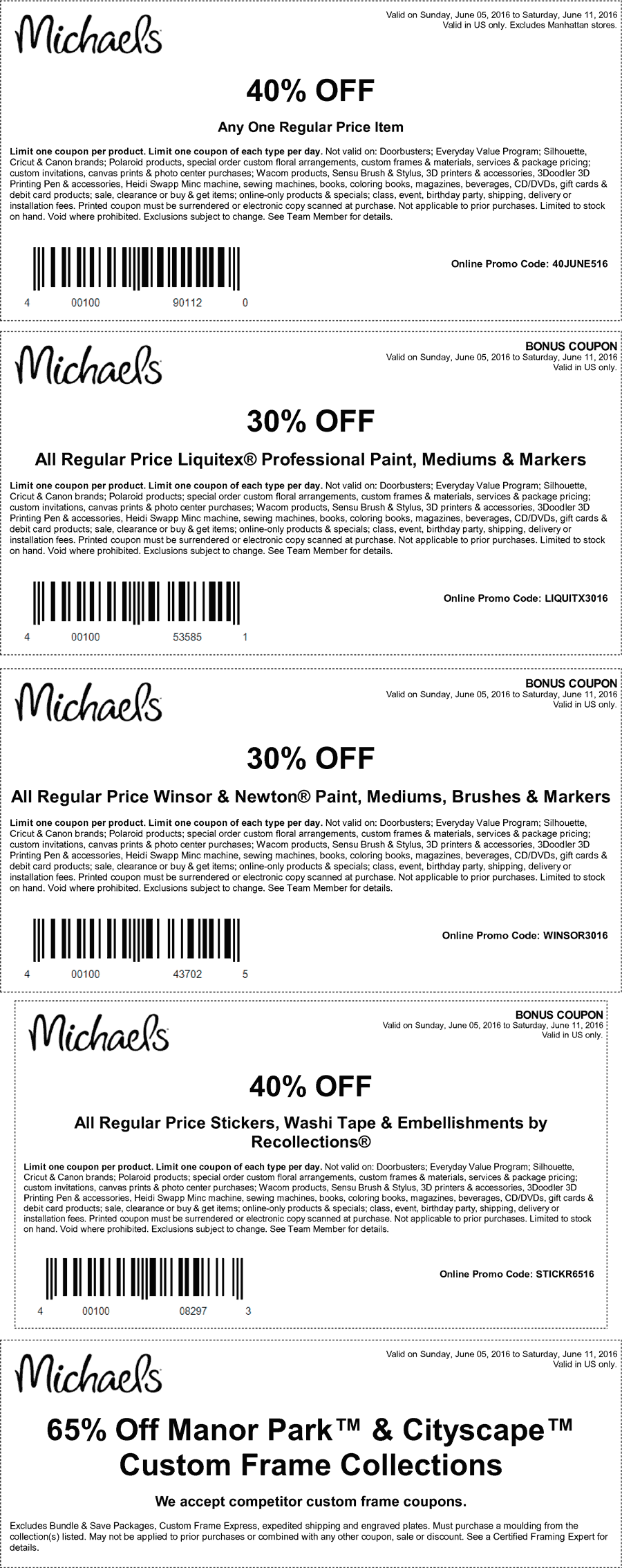 Michaels Coupon March 2017 40% off a single item & more at Michaels, or online via promo code 40JUNE516