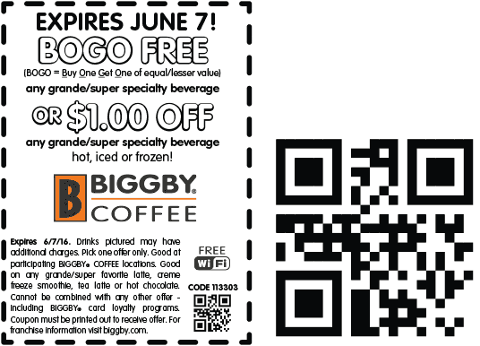 Biggby Coffee Coupon May 2017 Second coffee free today at Biggby Coffee