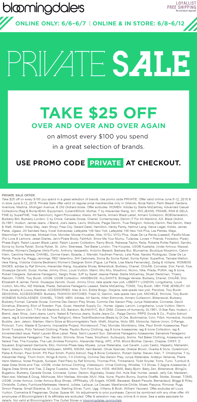 Bloomingdales Coupon May 2017 $25 off every $100 at Bloomingdales, or online via promo code PRIVATE