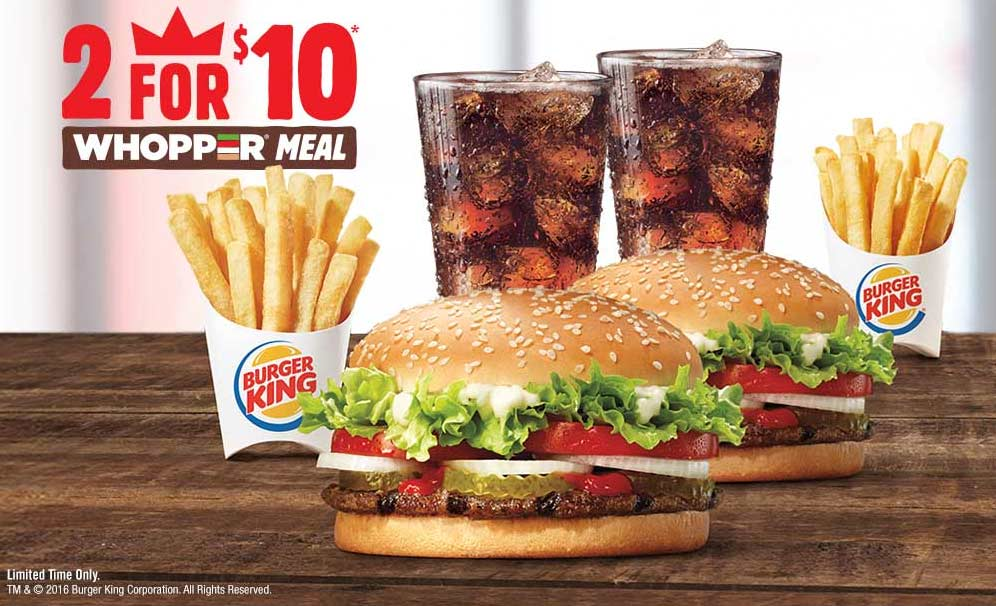 Burger King Coupon September 2017 Two whopper meals for $10 at Burger King