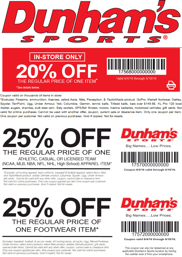 Dunhams Sports Coupon January 2017 20% off a single item & more at Dunhams Sports