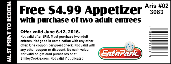 Eat n Park Coupon August 2017 Free appetizer with your entrees at Eat n Park