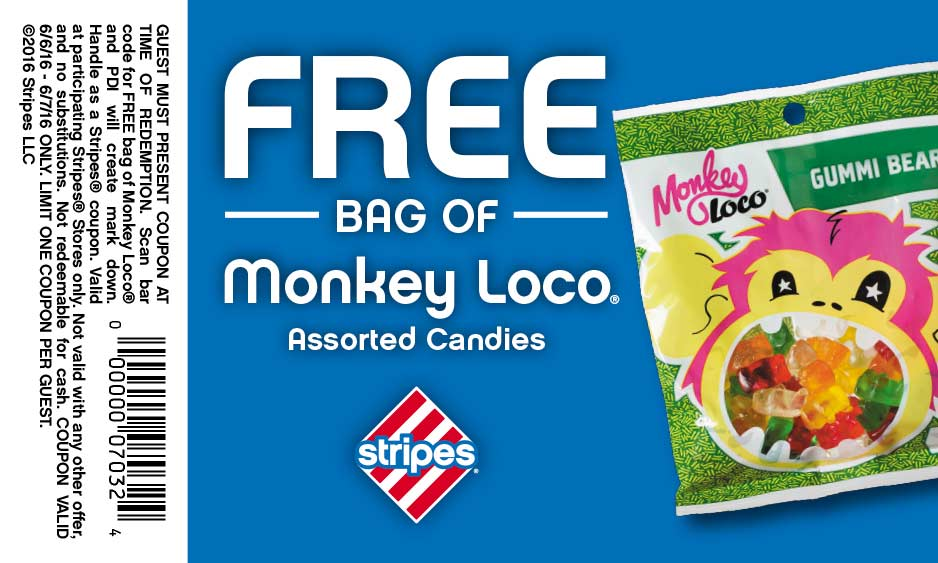 Stripes Coupon May 2018 Free bag of candies today at Stripes gas stations