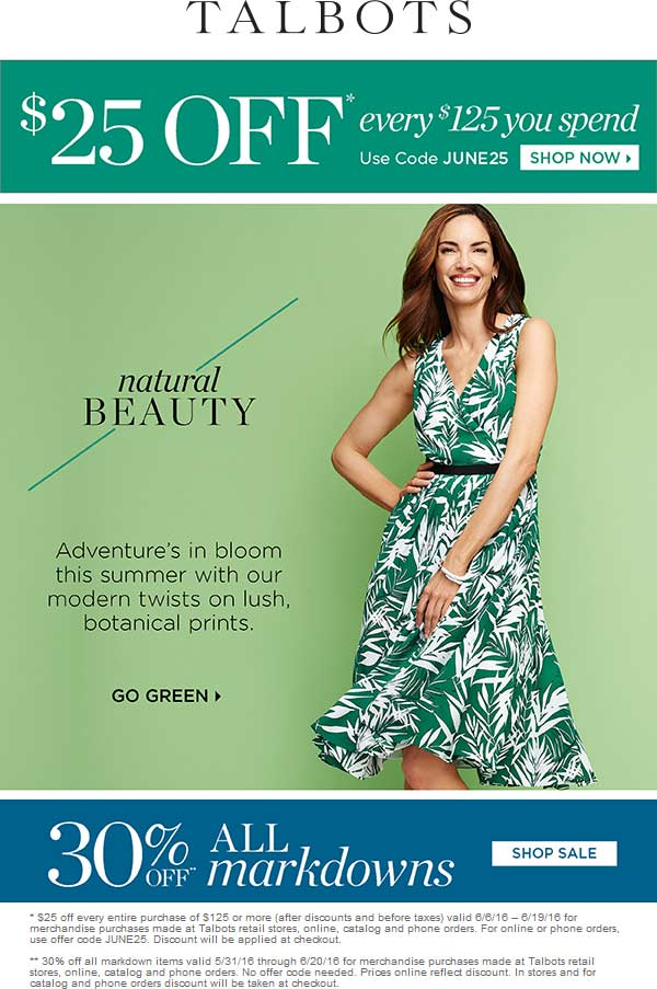 Talbots Coupon August 2018 $25 off every $125 & more at Talbots, or online via promo code JUNE25