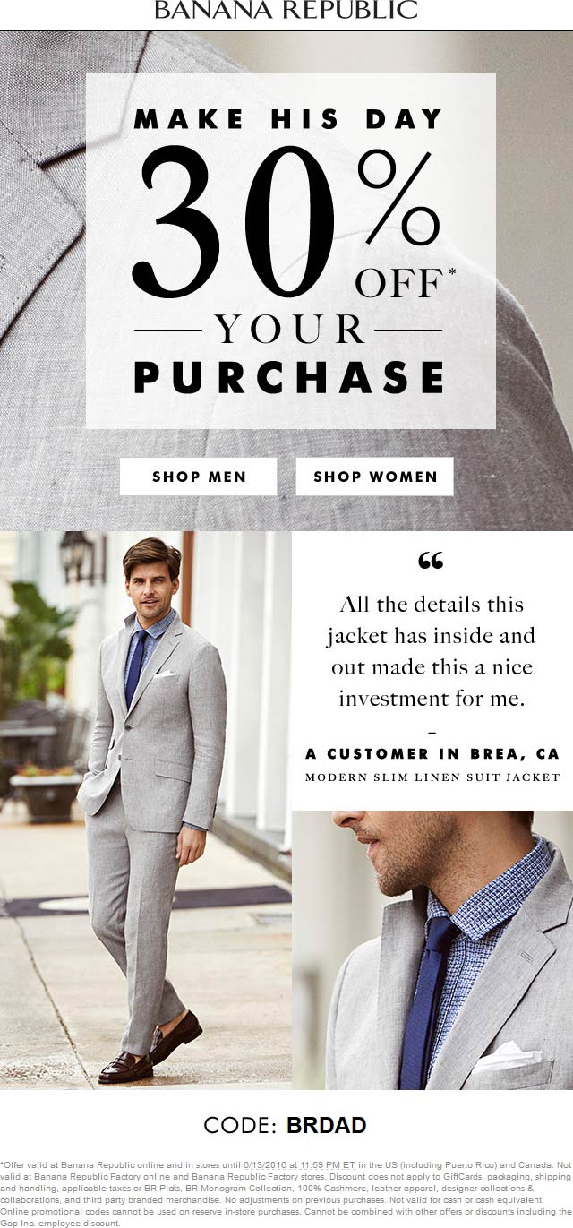 Banana Republic Coupon March 2017 30% off at Banana Republic, ditto online