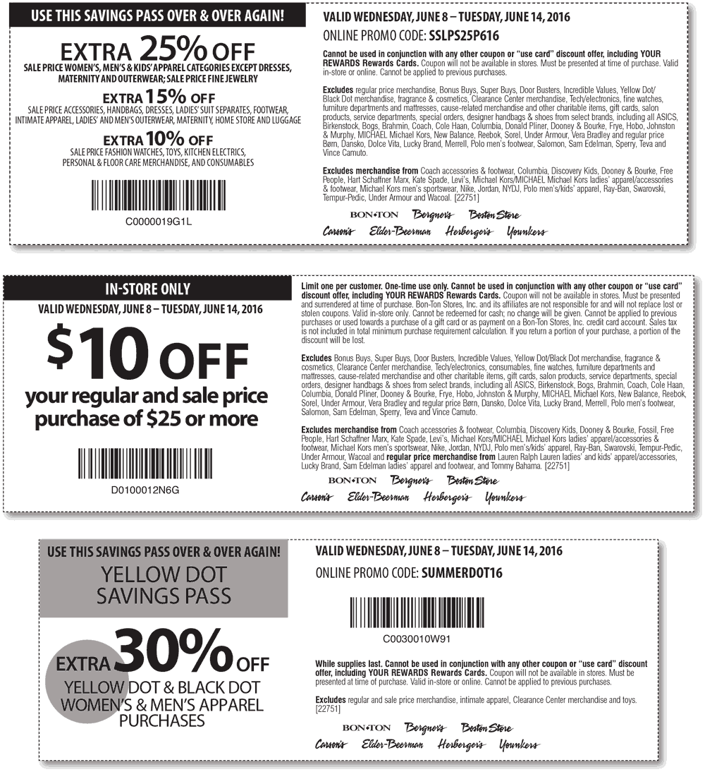 Carsons Coupon September 2017 Extra 25% off sale items at Carsons, Bon Ton & sister stores, or online via promo code SSLPS25P616