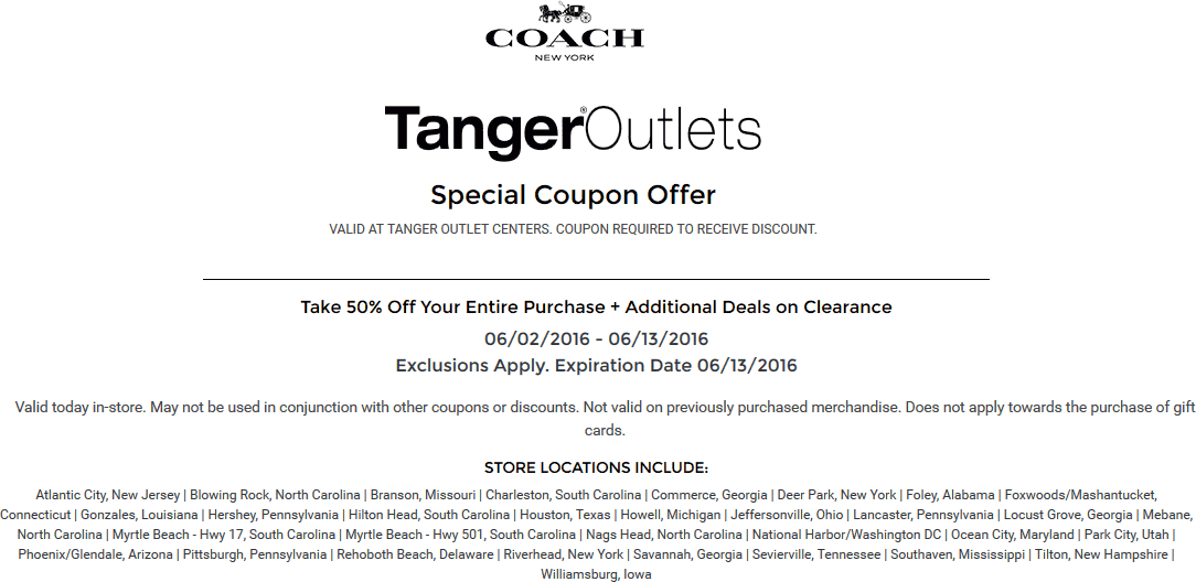 Coach Coupon January 2018 50% off everything at Tanger Outlets Coach stores