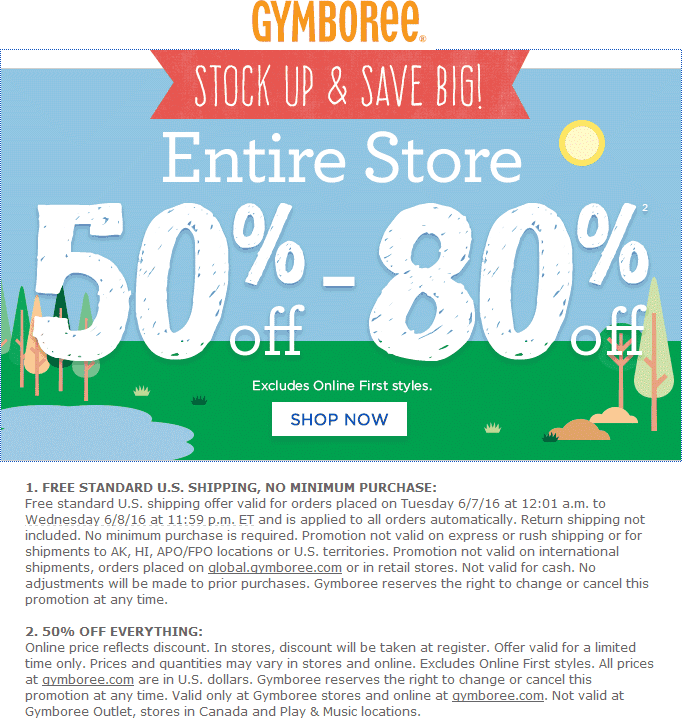 Gymboree Coupon August 2017 Everything is 50-80% off at Gymboree, ditto online