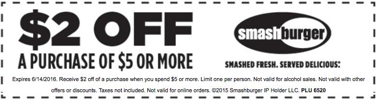 Smashburger Coupon October 2016 $2 off $5 at Smashburger restaurants