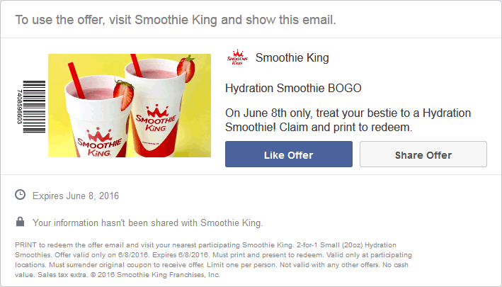 SmoothieKing.com Promo Coupon Second smoothie free today at Smoothie King
