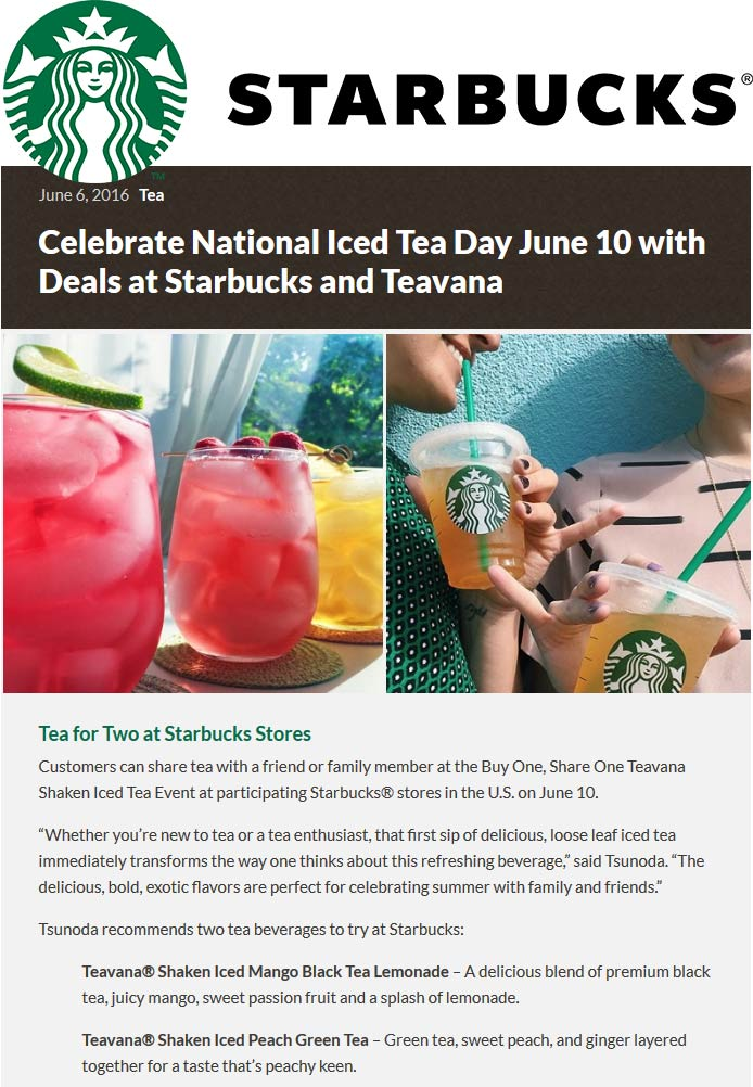 Starbucks Coupon February 2017 Second iced tea free Friday at Starbucks