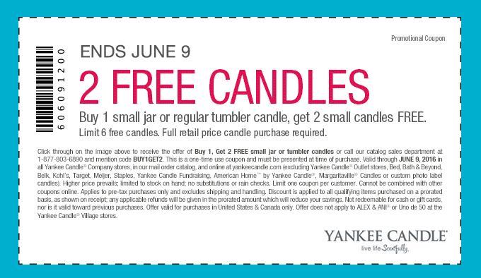 Yankee Candle Coupon April 2017 3-for-1 at Yankee Candle, or online via promo code BUY1GET2
