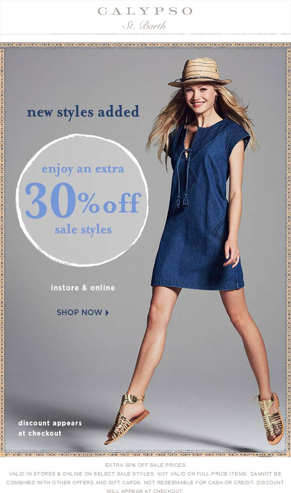 Calypso St. Barth Coupon April 2017 Extra 30% off sale items at Calypso St. Barth, ditto online