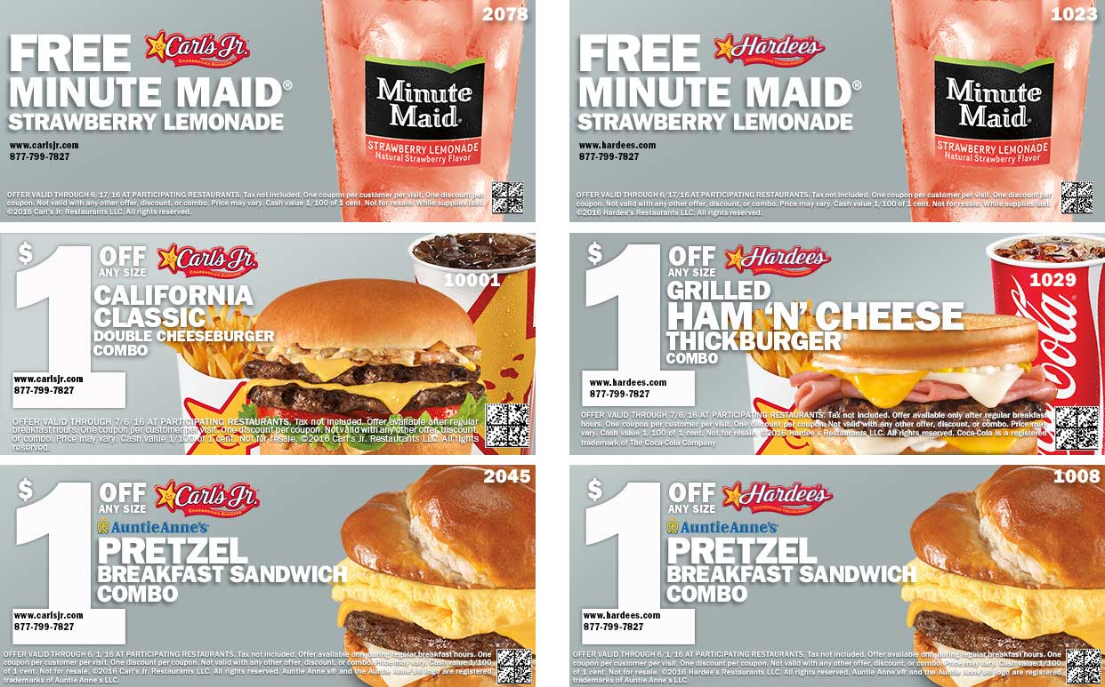 Hardees Coupon October 2016 Free lemonade & more at Hardees & Carls Jr restaurants