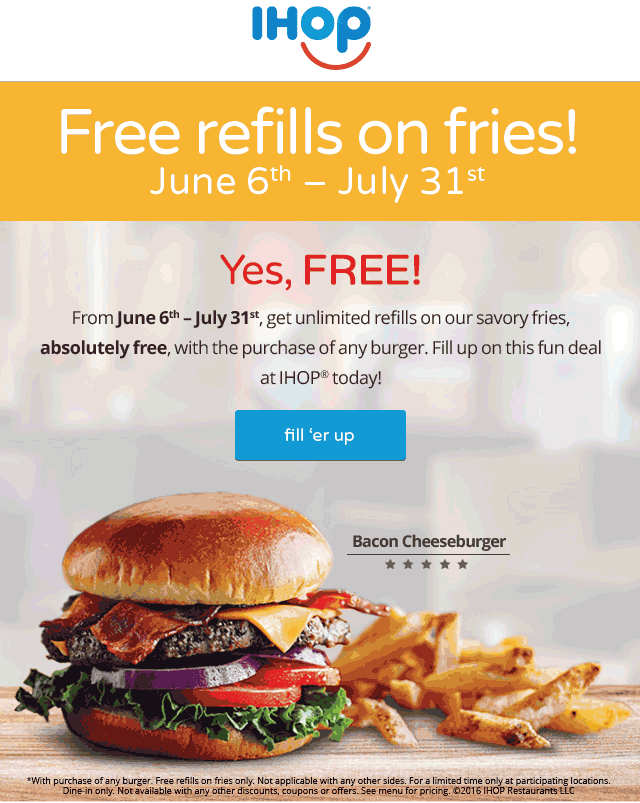 IHOP Coupon April 2017 Free bottomless fries with your burger at IHOP