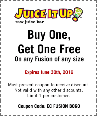 Juice It Up Coupon July 2017 Second fusion free at Juice It Up