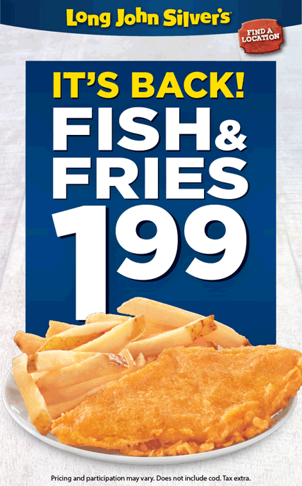 Long John Silvers Coupon April 2017 $2 fish & fries at Long John Silvers
