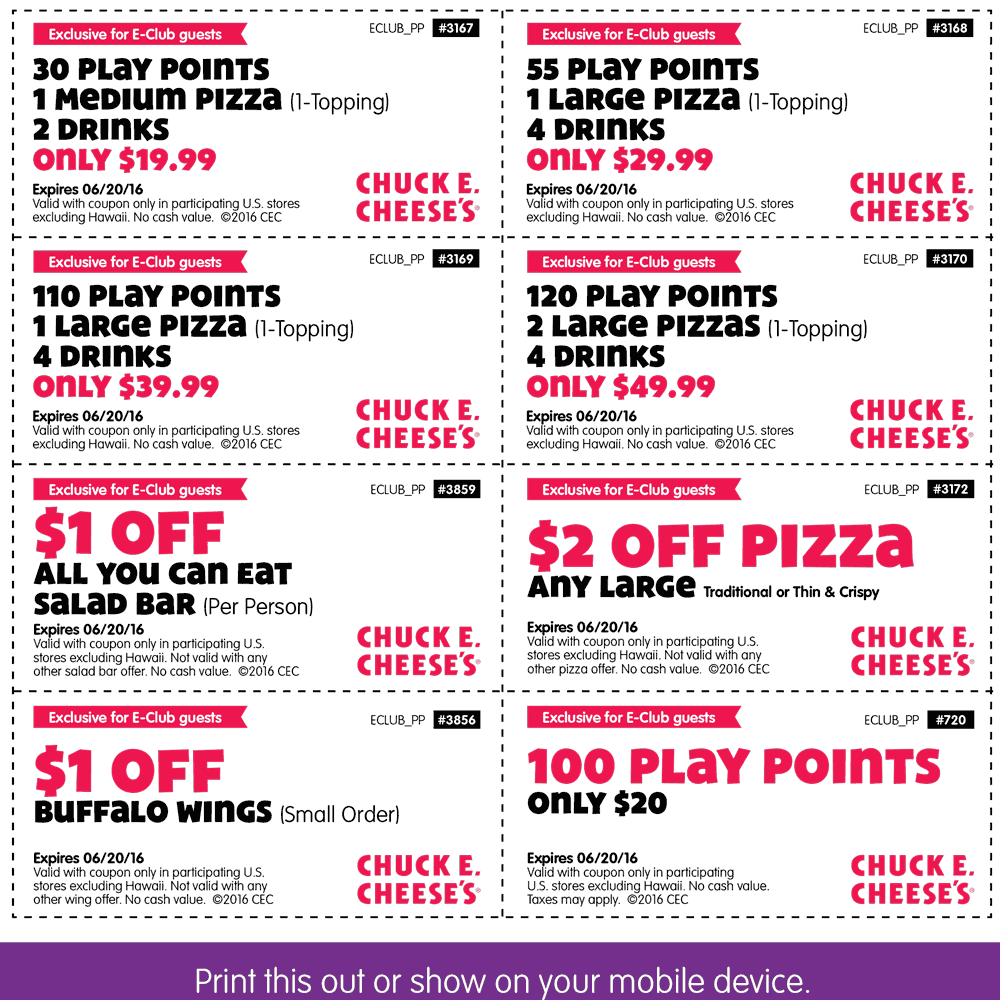 Chuck E. Cheese Coupon May 2017 30 tokens + pizza + drinks = $20 & more at Chuck E. Cheese
