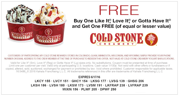 Cold Stone Creamery Coupon March 2018 Second ice cream free at Cold Stone Creamery