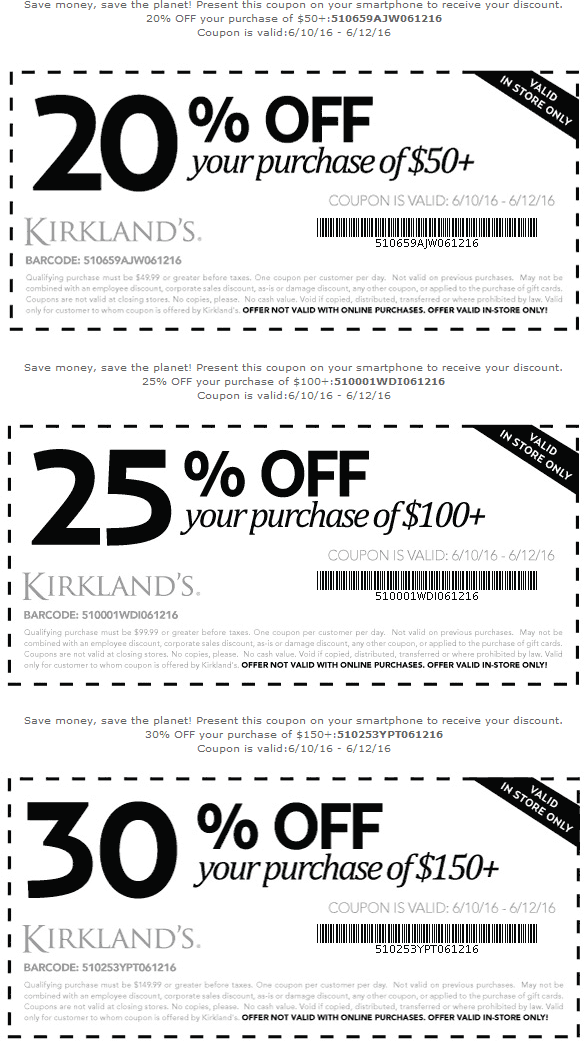 Kirklands Coupon March 2017 20-30% off at Kirklands