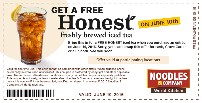 Noodles & Company Coupon May 2018 Free Honest iced tea today at Noodles & Company